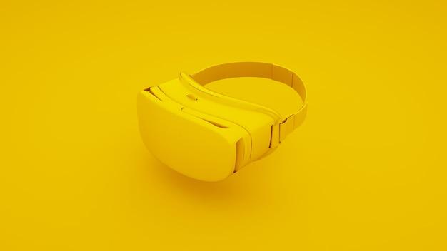 黄色の背景にvrバーチャルリアリティメガネ。 3dイラスト