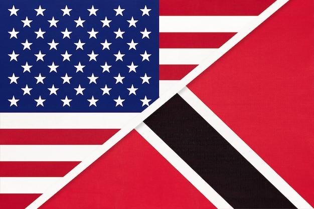 アメリカvsトリニダード・トバゴ共和国の国旗。二国間の関係。