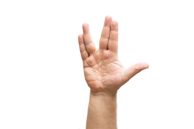 벌컨 인사말, 남자의 손, 흰색 배경에 고립