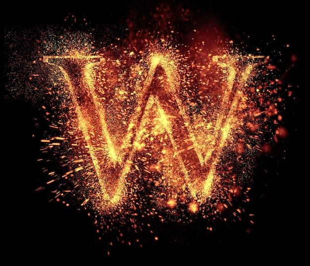 W文字の火花は黒に分離されています