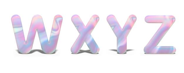 Набор заглавных букв w, x, y, z в ярком голографическом дизайне, блестящий неоновый алфавит.