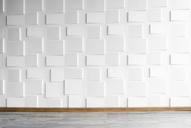 窓の照明付きの木製の床のモダンな白い壁。コンクリートwの抽象的な背景