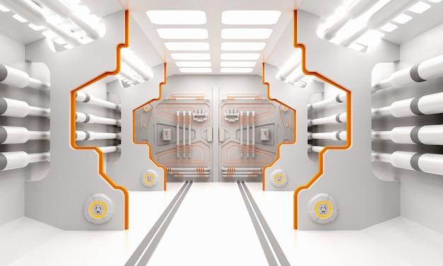 Научно-фантастический гранж поврежден металлический коридор фон с подсветкой w