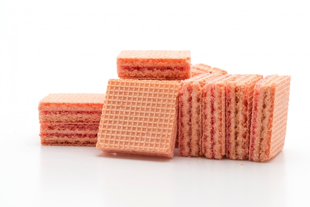 Wafer biscuit with strawberry cream flavor