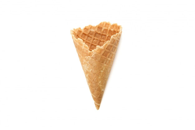 Wafer cone isolated on white surface. sweet ice cream