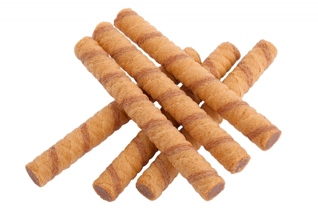 Wafer rolls with chocolate and cocoa filling isolated
