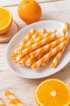 Вафли рулет с апельсиновым кремом