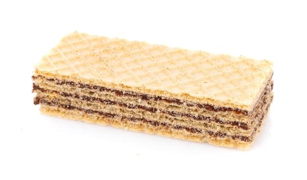 Вафли с шоколадом, изолированные на белом фоне