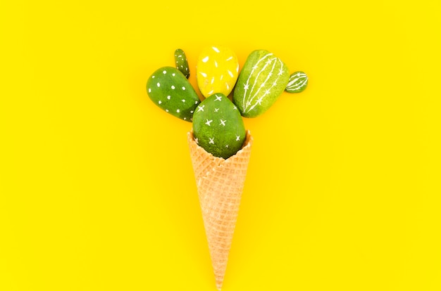 Waffle cone with cactuses on table