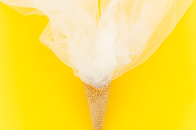Waffle cone with transparent fabric
