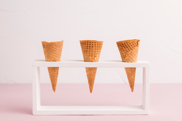 Waffle cones in holder