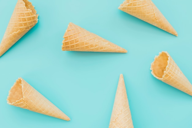 Waffle cones scattered in pattern