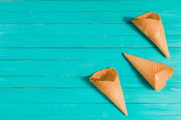 Waffle cones on table in random