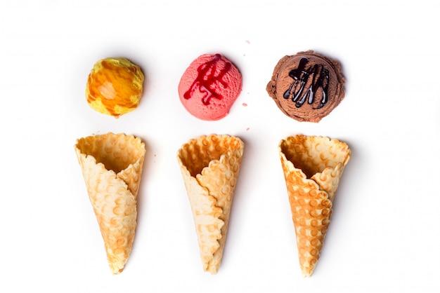 Waffle cones with ice cream