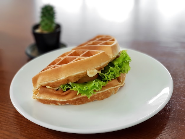 Waffle sandwich with cheese