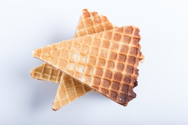 Waffle sandwiches with boiled condensed milk  isolated on white background.