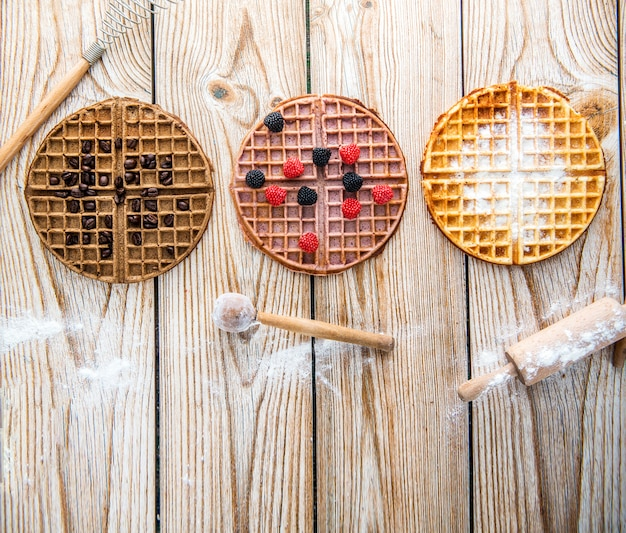 Waffle with different flavours