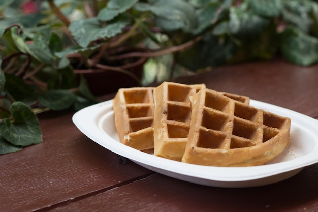 Waffles on the table