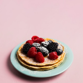 Waffles and wild berries breakfast