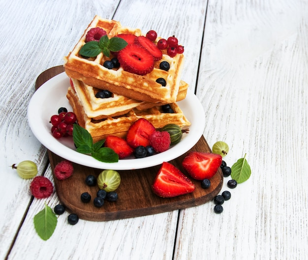 Waffles with fresh berries