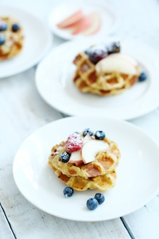 Waffles with fruit with fruit