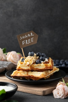 Waffles with fruits assortment