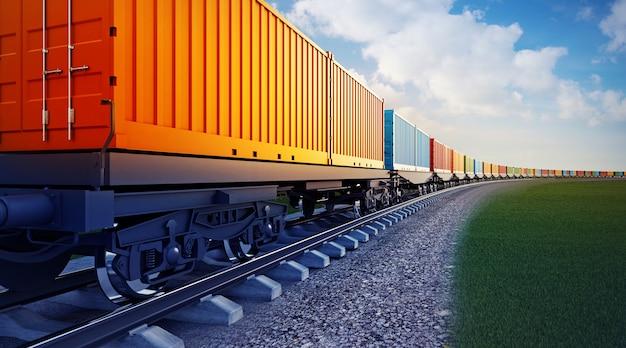 Вагон грузового поезда с контейнерами