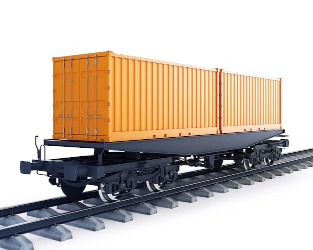 Вагон грузового поезда Premium Фотографии