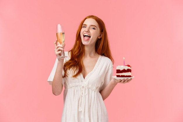 Waist-up portrait happy and excited chanting happy birthday song, raising glass champagne