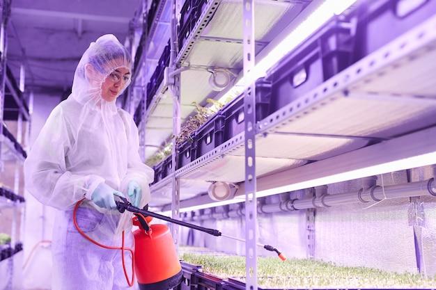 青い光に照らされた植物保育園の温室で作業中に肥料を噴霧している女性の農業技術者の肖像画をウエストアップ、コピースペース