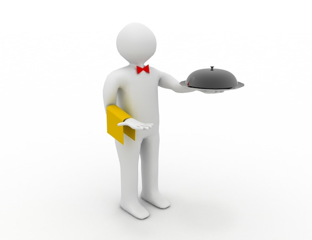 Официант с подносом в руке