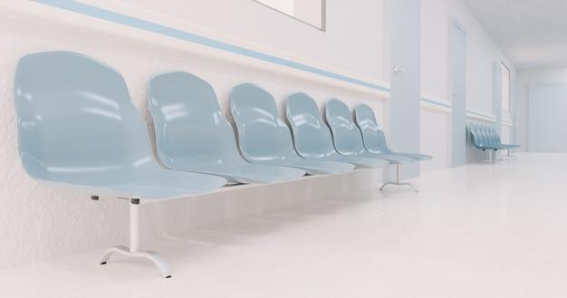 表面がぼやけている病院の廊下で待っている椅子