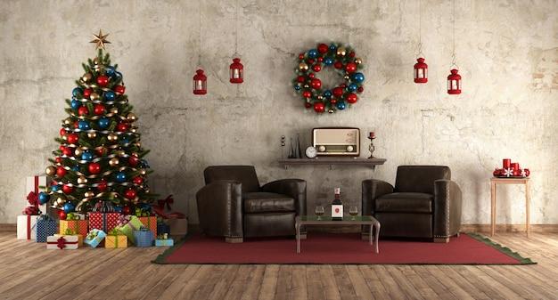 В ожидании рождества в комнате в стиле ретро