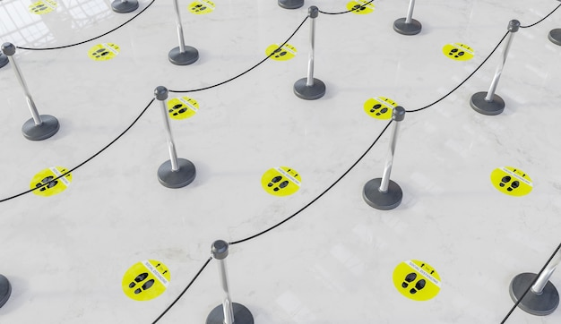 Waiting queue with marble floor and yellow social distance labels with dividers for people. 3d render