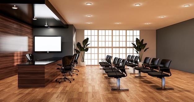 Waiting room interior on office design.3d rendering