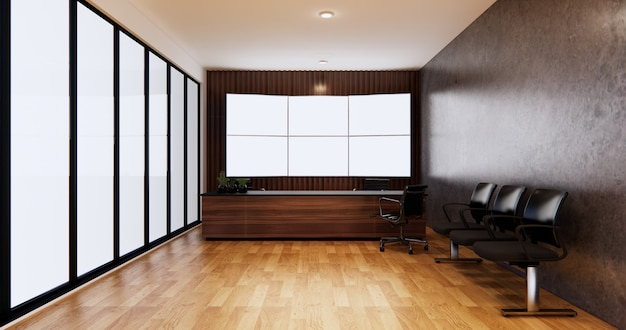 Waiting room interior on office design.3d rendering