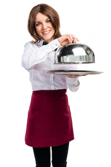Официантка с табличкой