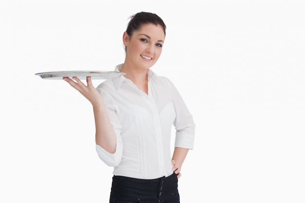 Waitress holding a tray