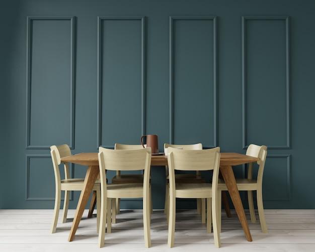 Столовая копия пространства на стиле арт-деко зеленый wal, вид спереди, 3d-рендеринга