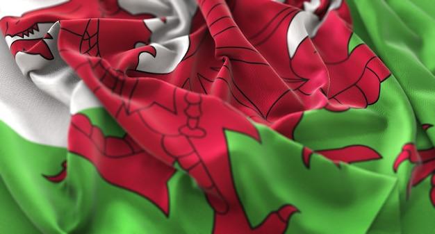 Wales flag ruffled beautifully waving macro close-up shot