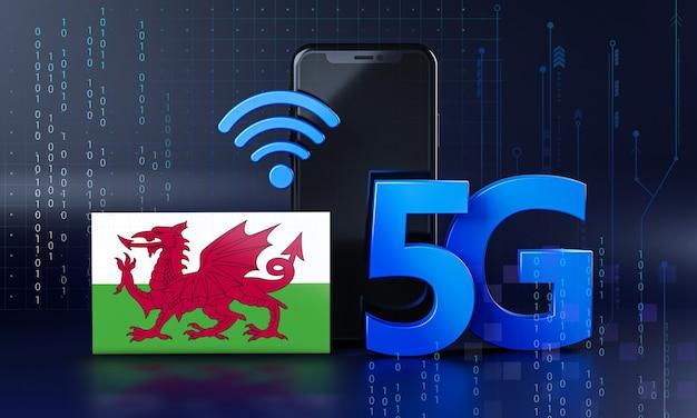 ウェールズは5g接続コンセプトの準備ができています。 3dレンダリングスマートフォン技術の背景