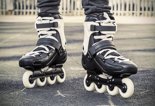 Walk on roller skates for skating. toned photo