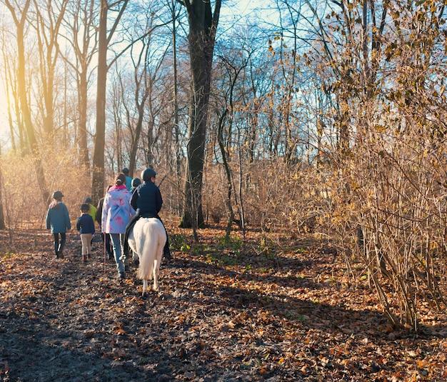 森の中で馬に乗って子供たちと歩いてください。