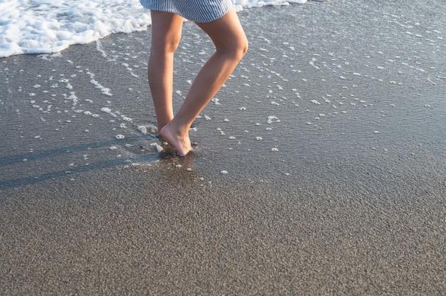 Walking on a beautiful white sand beach on the island of lombok. high quality photo