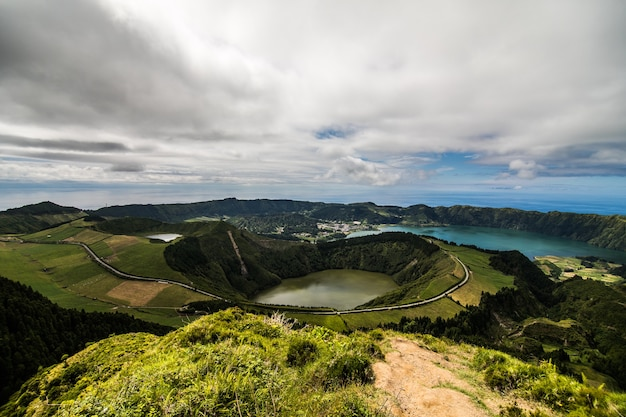 Walking path to a view on the lakes of sete cidades, azores island, portugal