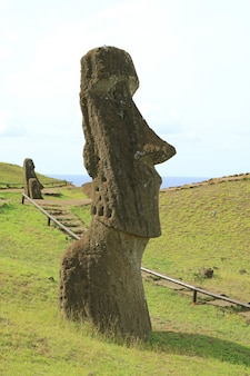 Walking trail for visitors on rano raraku volcano, moai statue quarry on easter island, chile