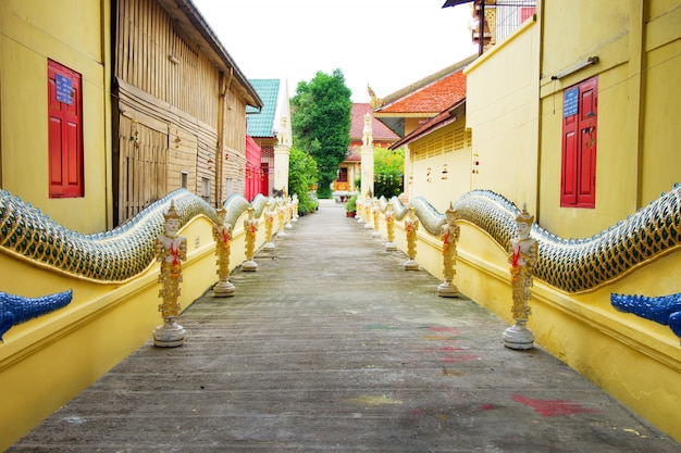 Walkwalk in the saen fang temple at chiangmai, thailand.