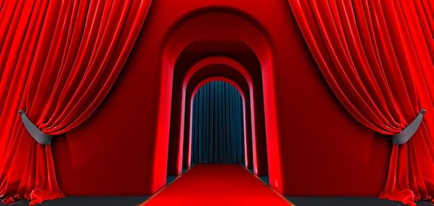 Арка прохода, черный коридор, длинный туннель с арками и красная ковровая дорожка