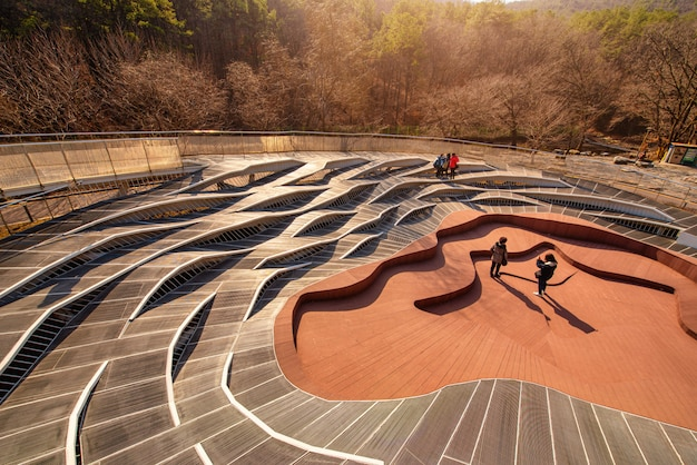Walkway architecture at sunset in anyang art public park, south korea.