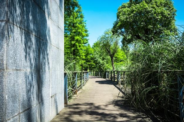 Passerella in giardino a bangkok, thailandia